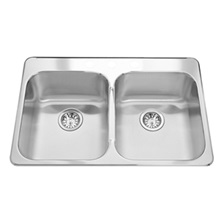 "Topmount double bowl sink with faucet ledge, stainless steel Steel Queen, 2 Bowls, 3 holes, 20 1/2"" x 31 1/4"""