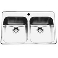 "Topmount double bowl sink with faucet ledge, stainless steel Reginox, 2 Bowls, 1 hole, 20 1/2"" x 31 1/4"""