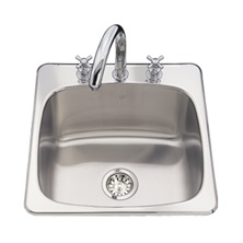 "Topmount single bowl laundry sink with faucet ledge, stainless steel Steel Queen, 1 Bowls, 1 hole, 20 9/16"" x 20 1/8"""